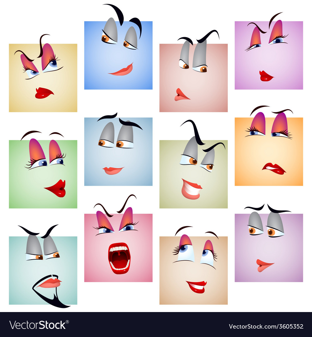 Smile avatar icon emotion face set vector | Price: 1 Credit (USD $1)