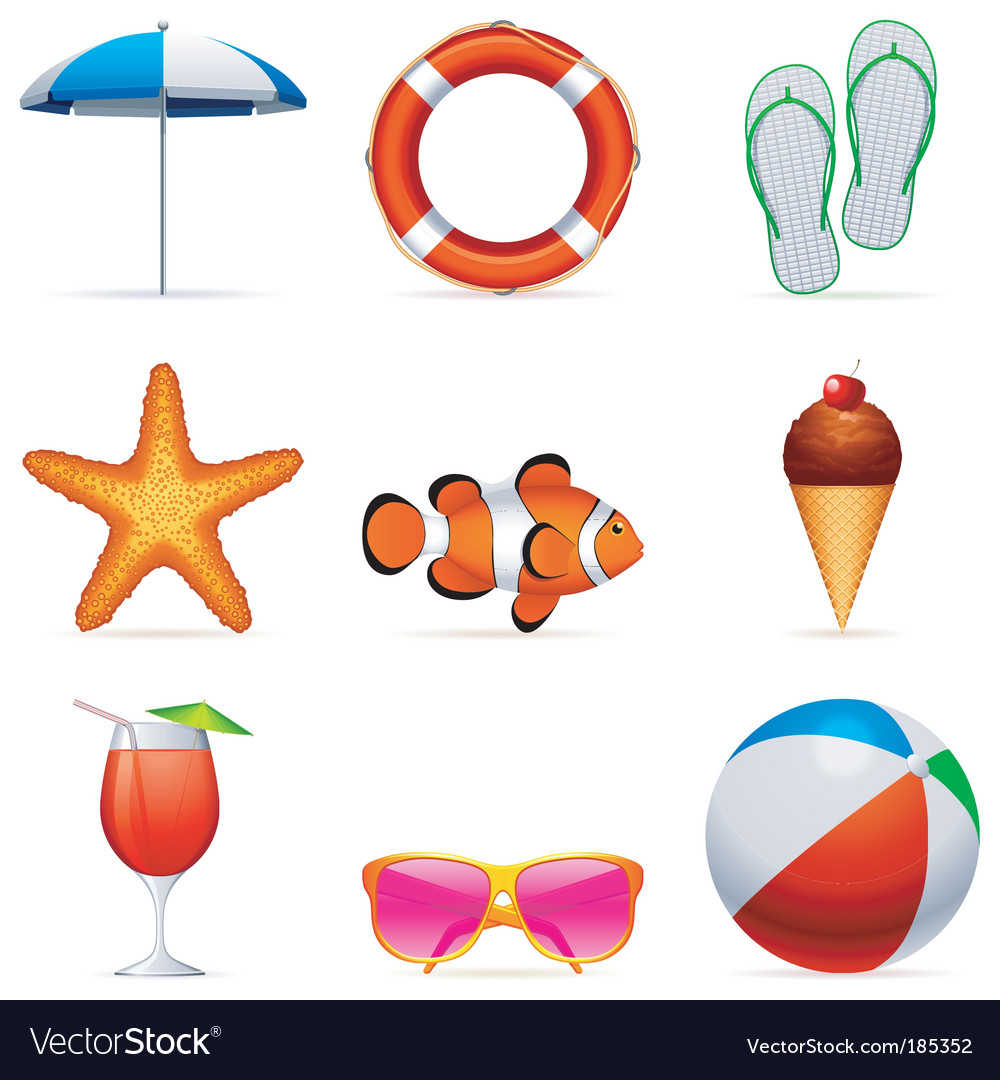 Summer vacation icons vector | Price: 3 Credit (USD $3)