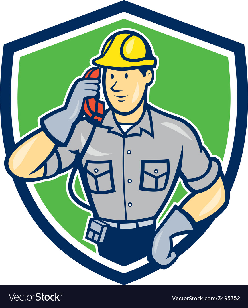 Telephone repairman phone shield cartoon vector   Price: 1 Credit (USD $1)