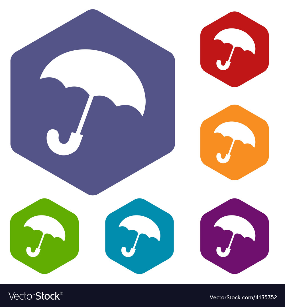 Umbrella rhombus icons vector | Price: 1 Credit (USD $1)