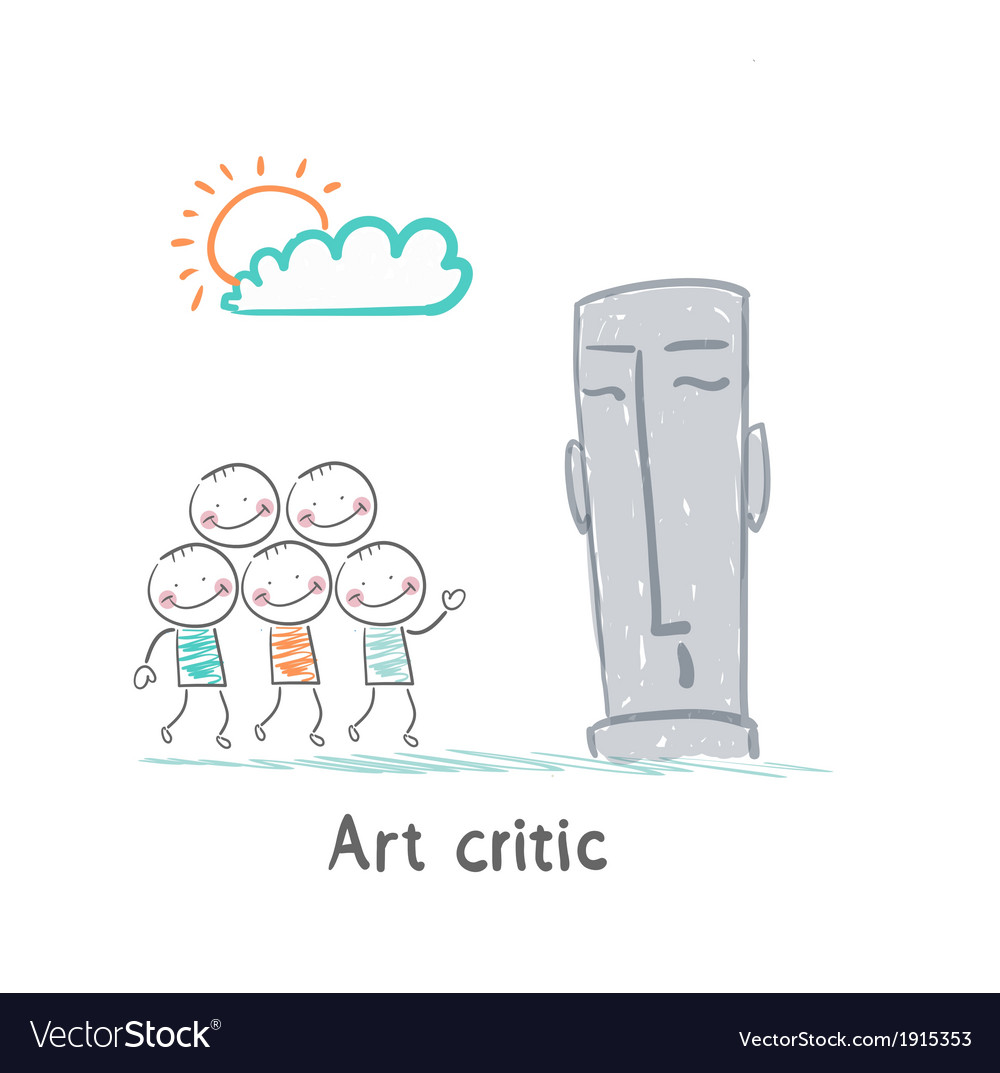 Art critic looks at the sculpture vector | Price: 1 Credit (USD $1)