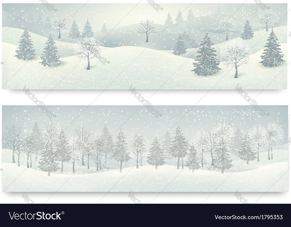 Christmas winter landscape banners vector | Price: 1 Credit (USD $1)