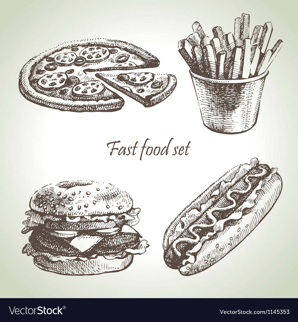 Fast food set hand drawn vector | Price: 1 Credit (USD $1)