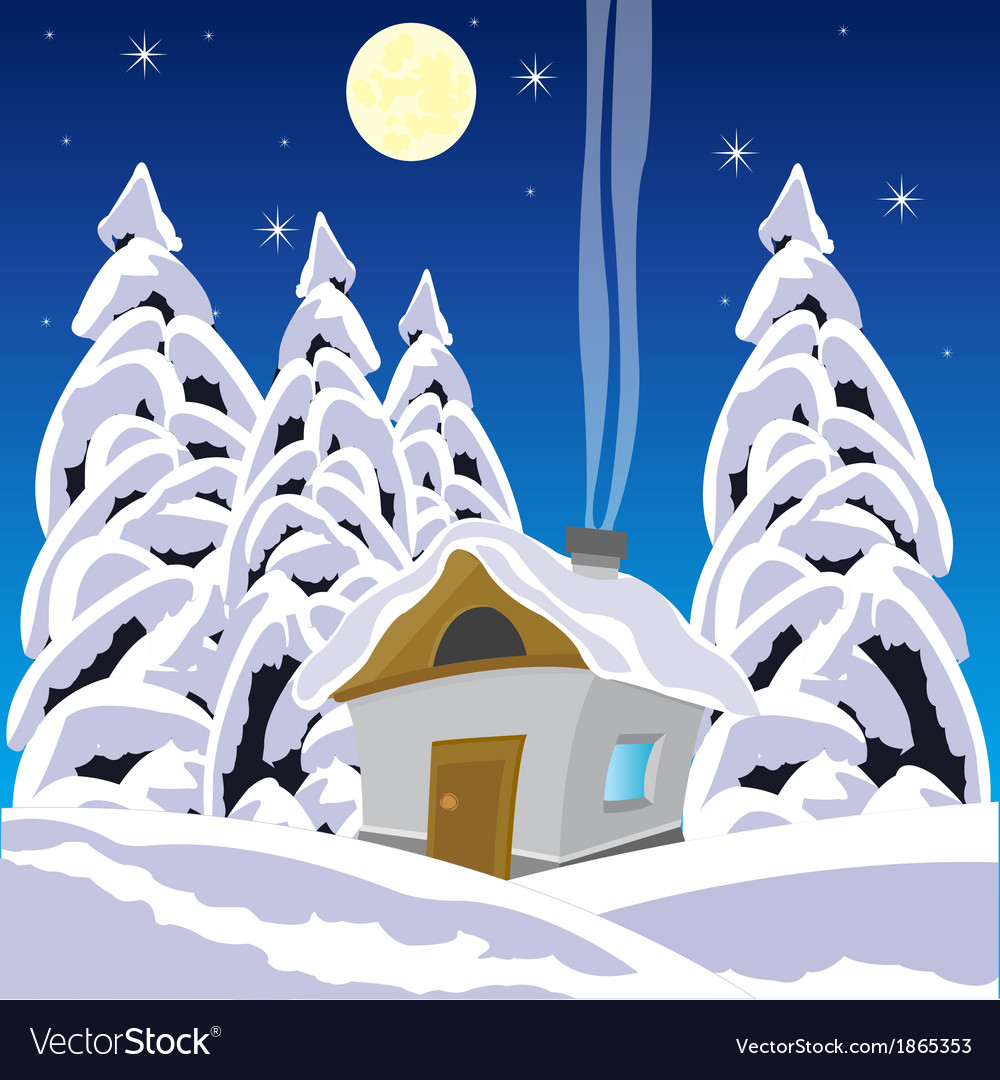 House in wood in winter vector | Price: 1 Credit (USD $1)