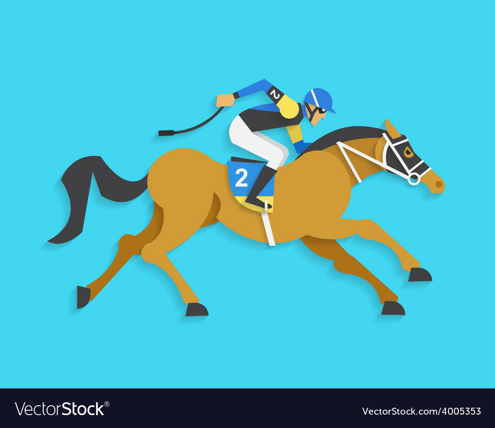 Jockey riding race horse number 2 vector | Price: 1 Credit (USD $1)