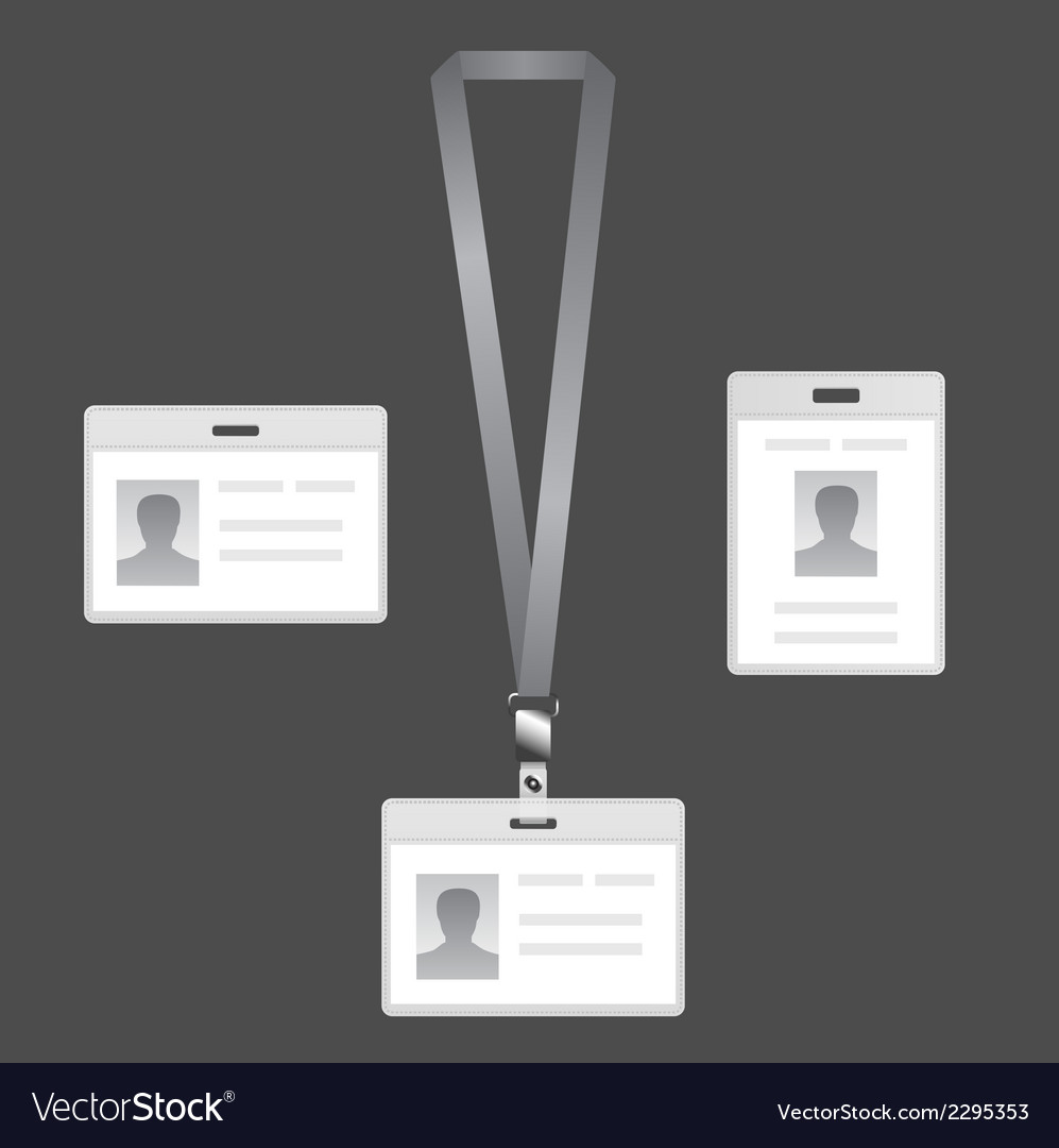 Name tag holder lanyard badge set with icons vector | Price: 1 Credit (USD $1)