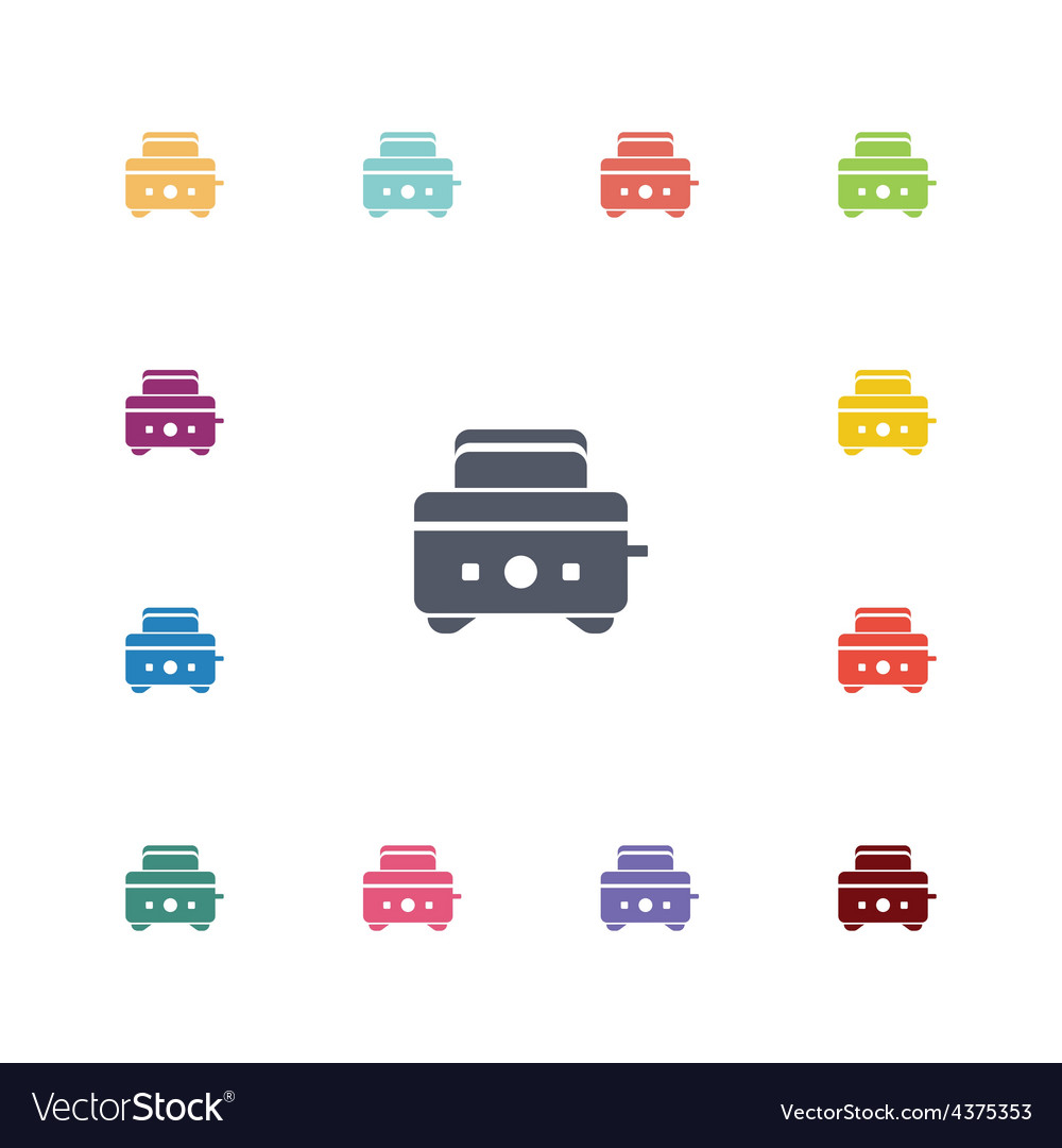 Toaster flat icons set vector | Price: 1 Credit (USD $1)