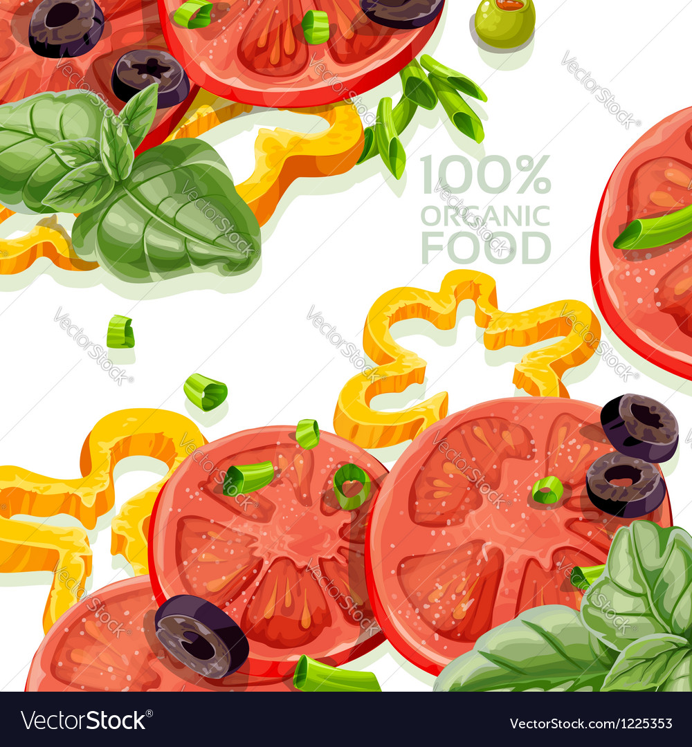 Vegetarian background organic natural food fr vector | Price: 3 Credit (USD $3)