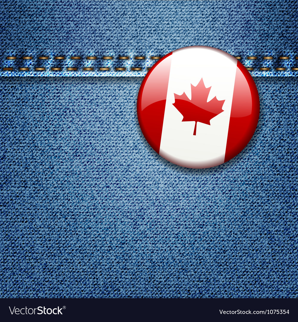 Canadian flag badge on denim fabric texture vector | Price: 3 Credit (USD $3)