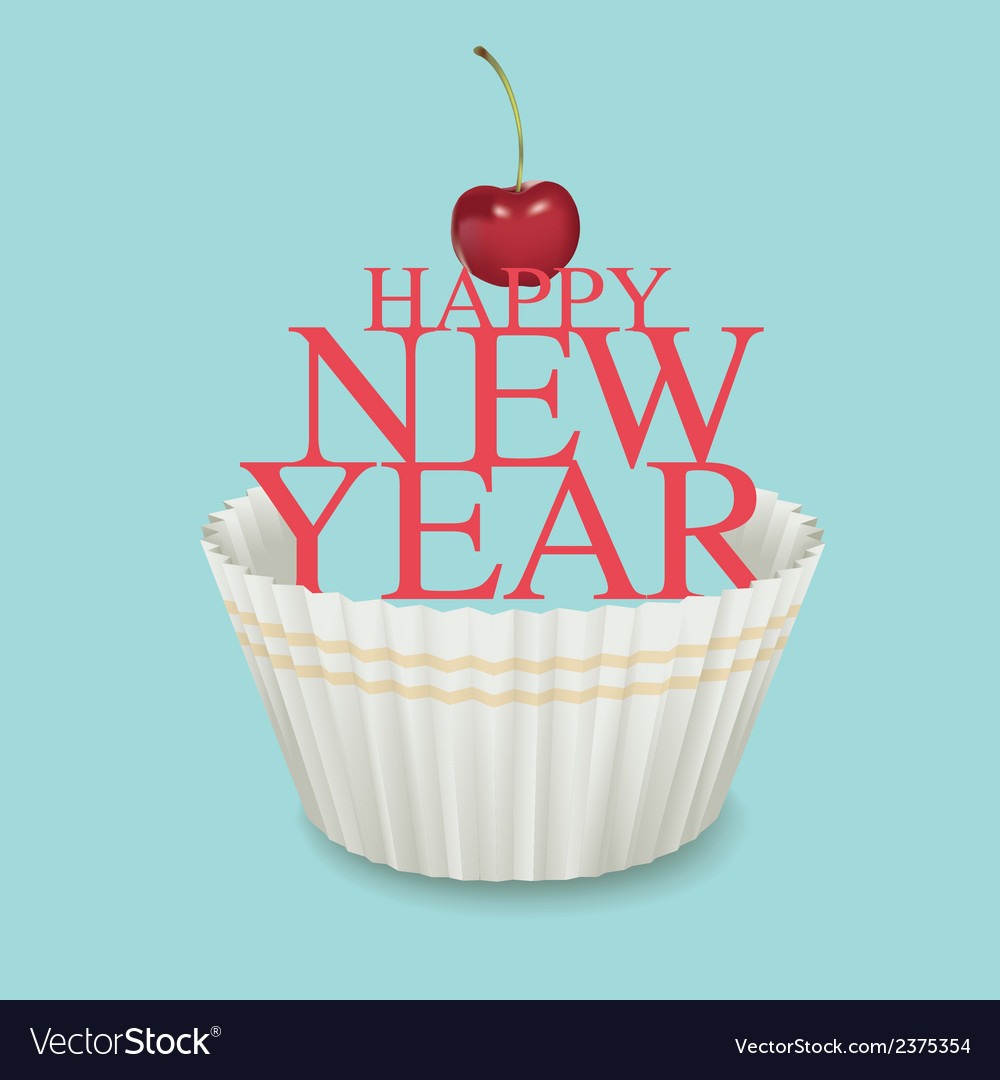 Cup cake new year 01 vector