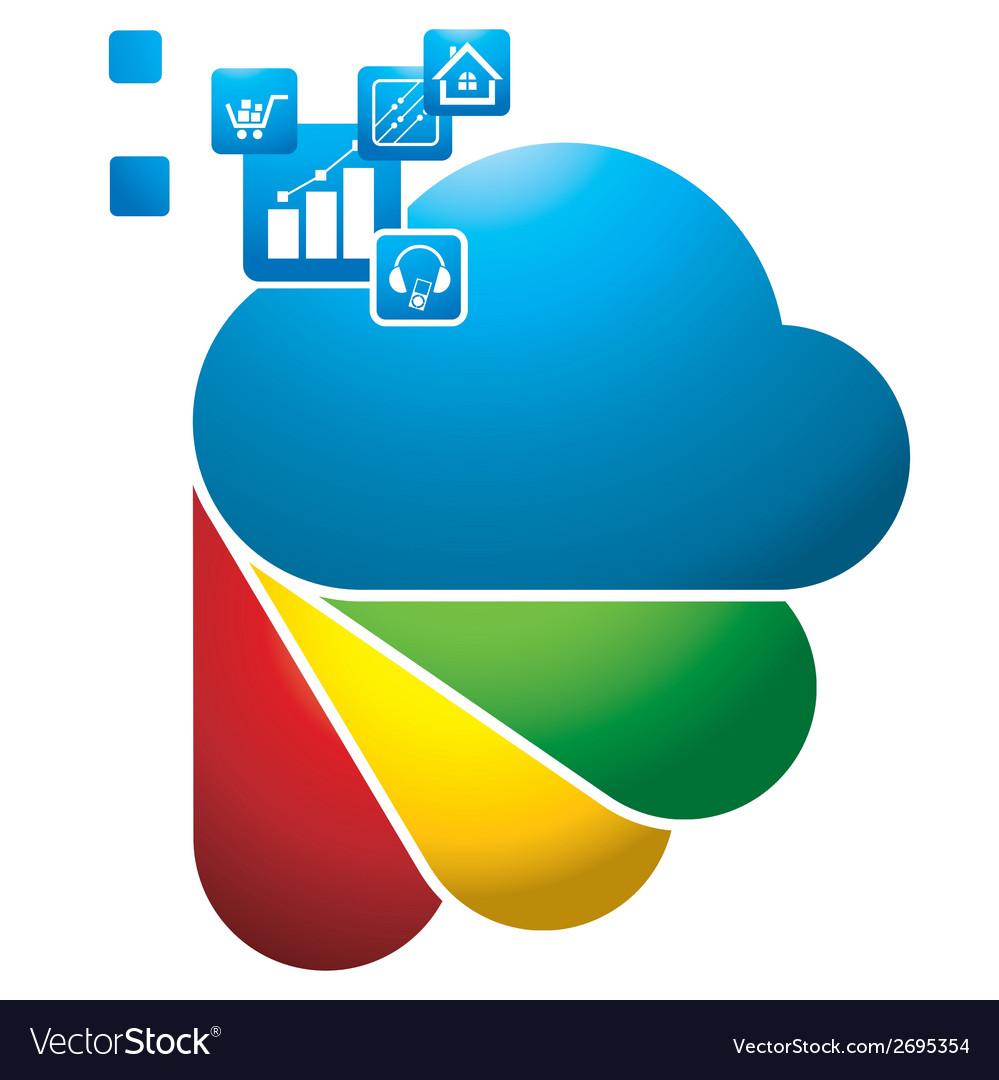 Digital cloud vector | Price: 1 Credit (USD $1)