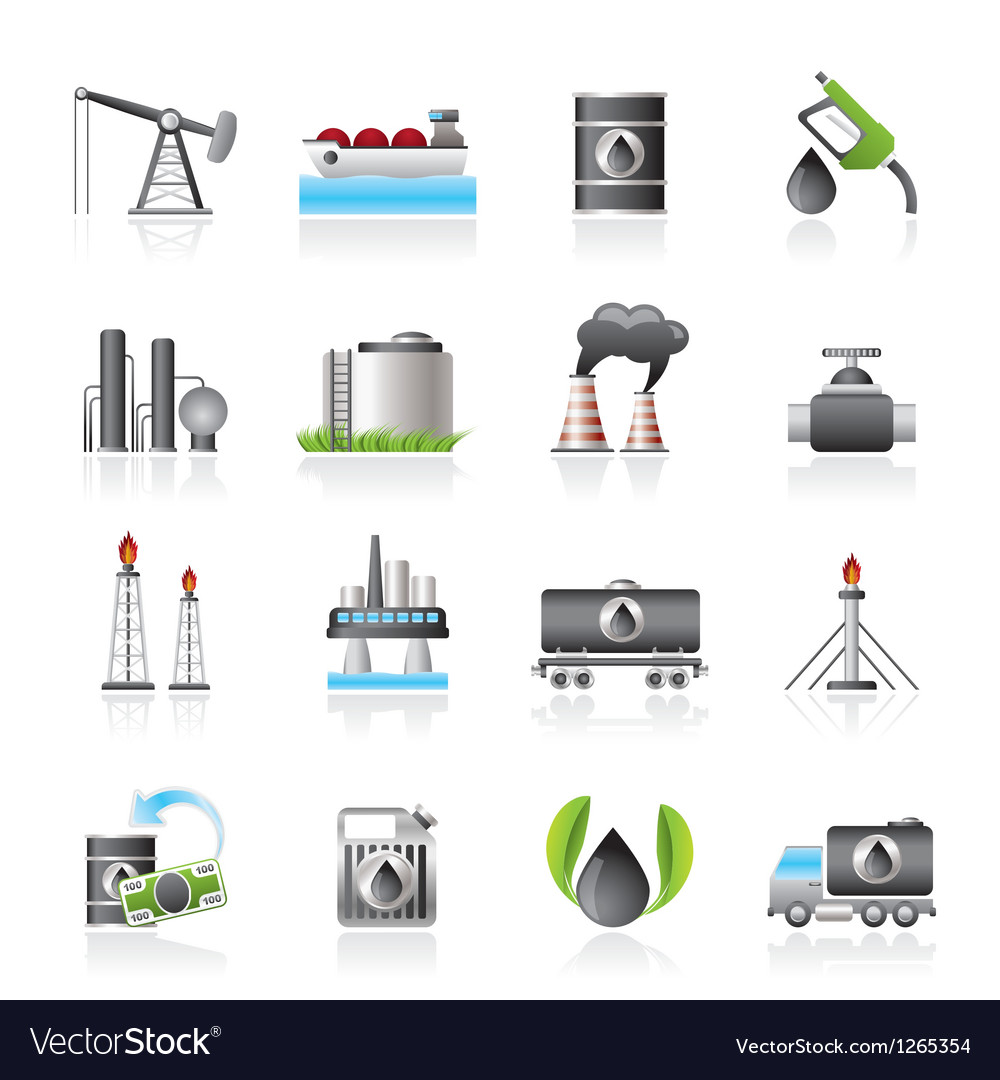 Petrol and oil industry icons vector | Price: 3 Credit (USD $3)