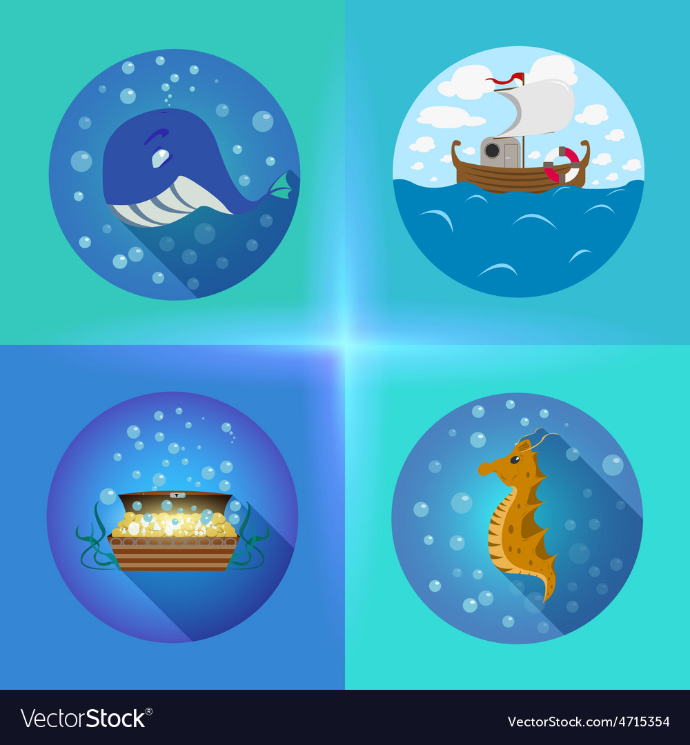 Sea theme flat icons vector | Price: 1 Credit (USD $1)