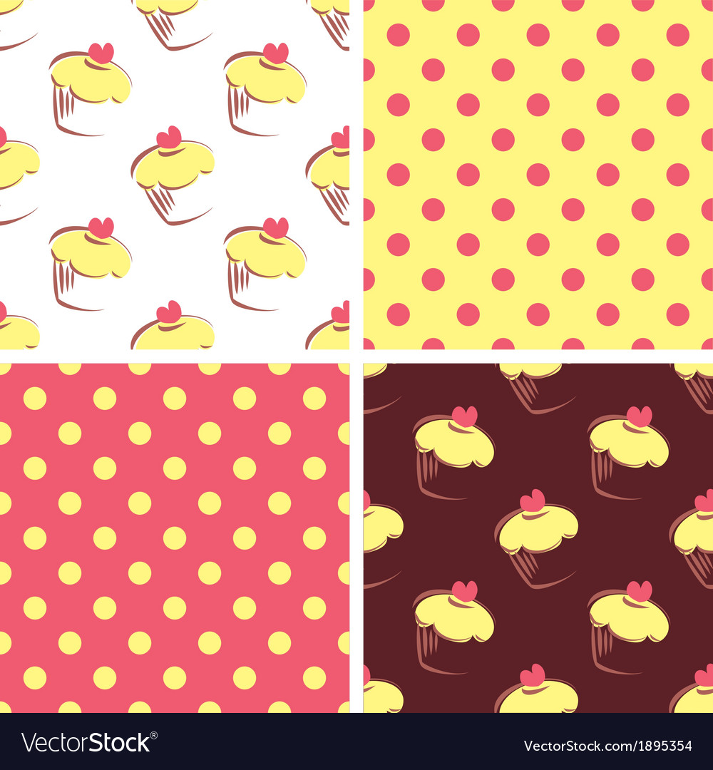 Seamless background set polka dots and cupcakes vector | Price: 1 Credit (USD $1)