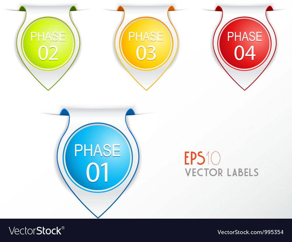 Set of phase badges with numbering vector | Price: 1 Credit (USD $1)