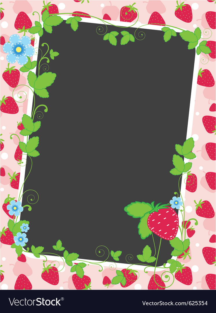 Strawberry frame and background vector | Price: 1 Credit (USD $1)
