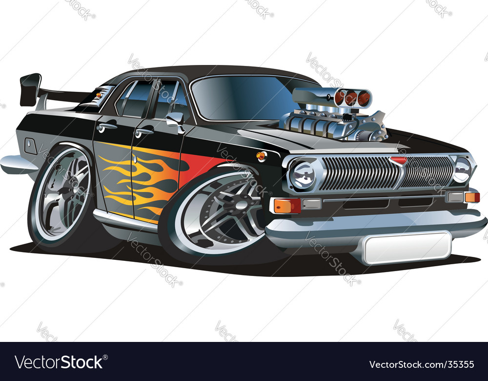 Cartoon retro muscle car vector | Price: 3 Credit (USD $3)