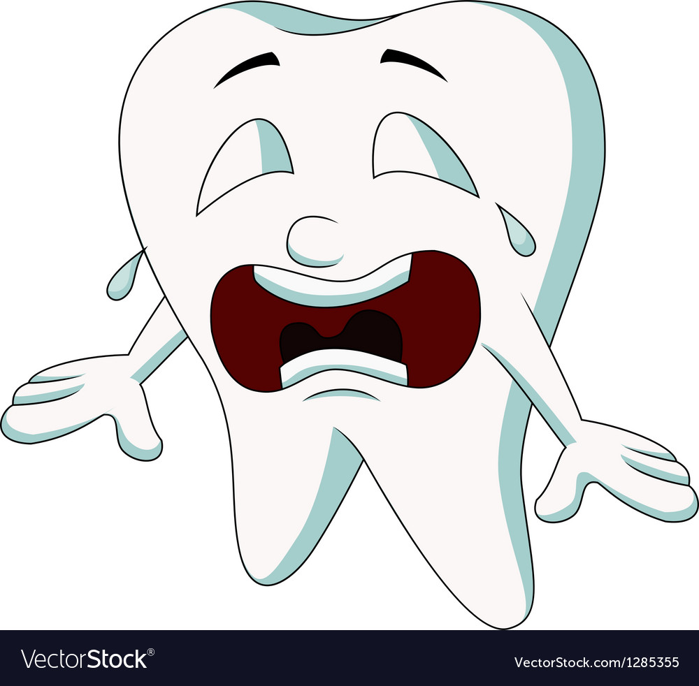 Cute tooth cartoon crying vector | Price: 1 Credit (USD $1)
