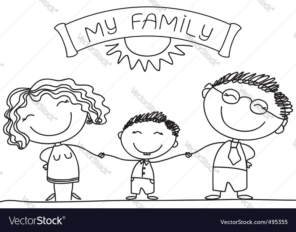 Family sketch vector | Price: 1 Credit (USD $1)