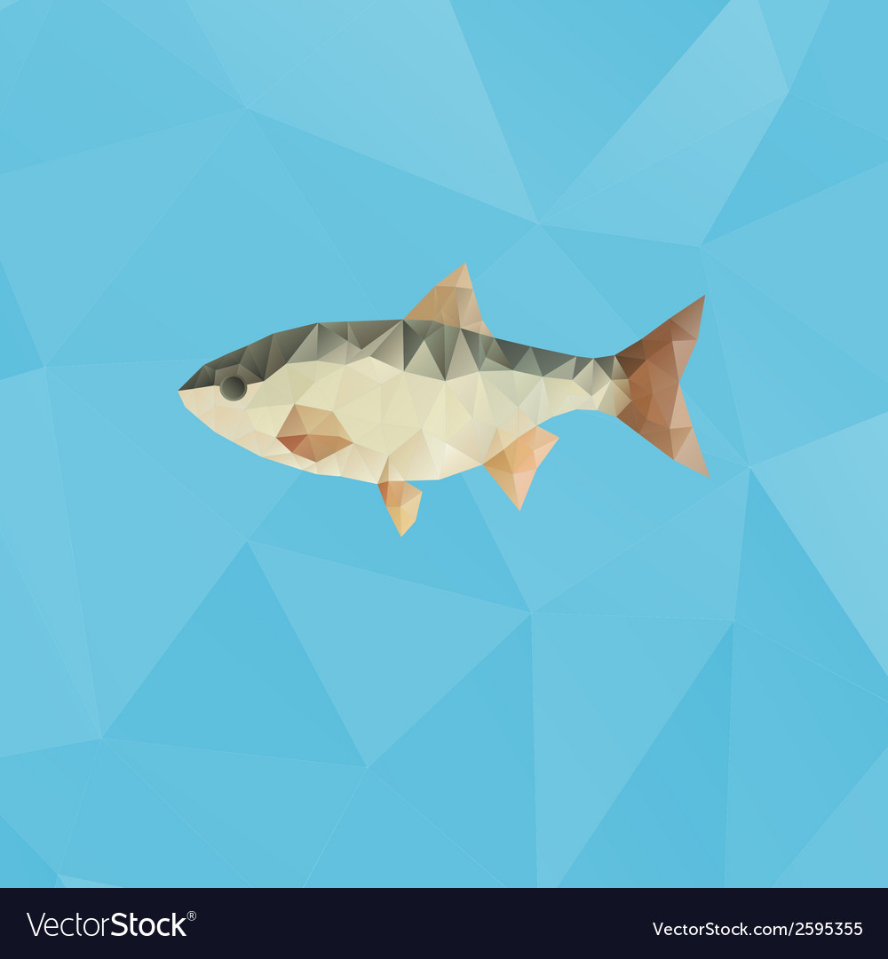 Fish made with triangles on blue polygonal vector | Price: 1 Credit (USD $1)