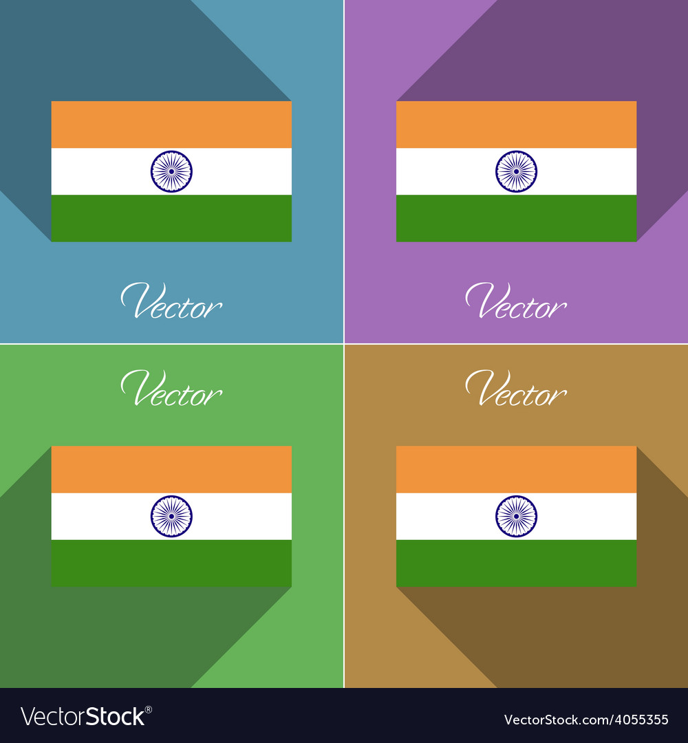 Flags india set of colors flat design and long vector | Price: 1 Credit (USD $1)