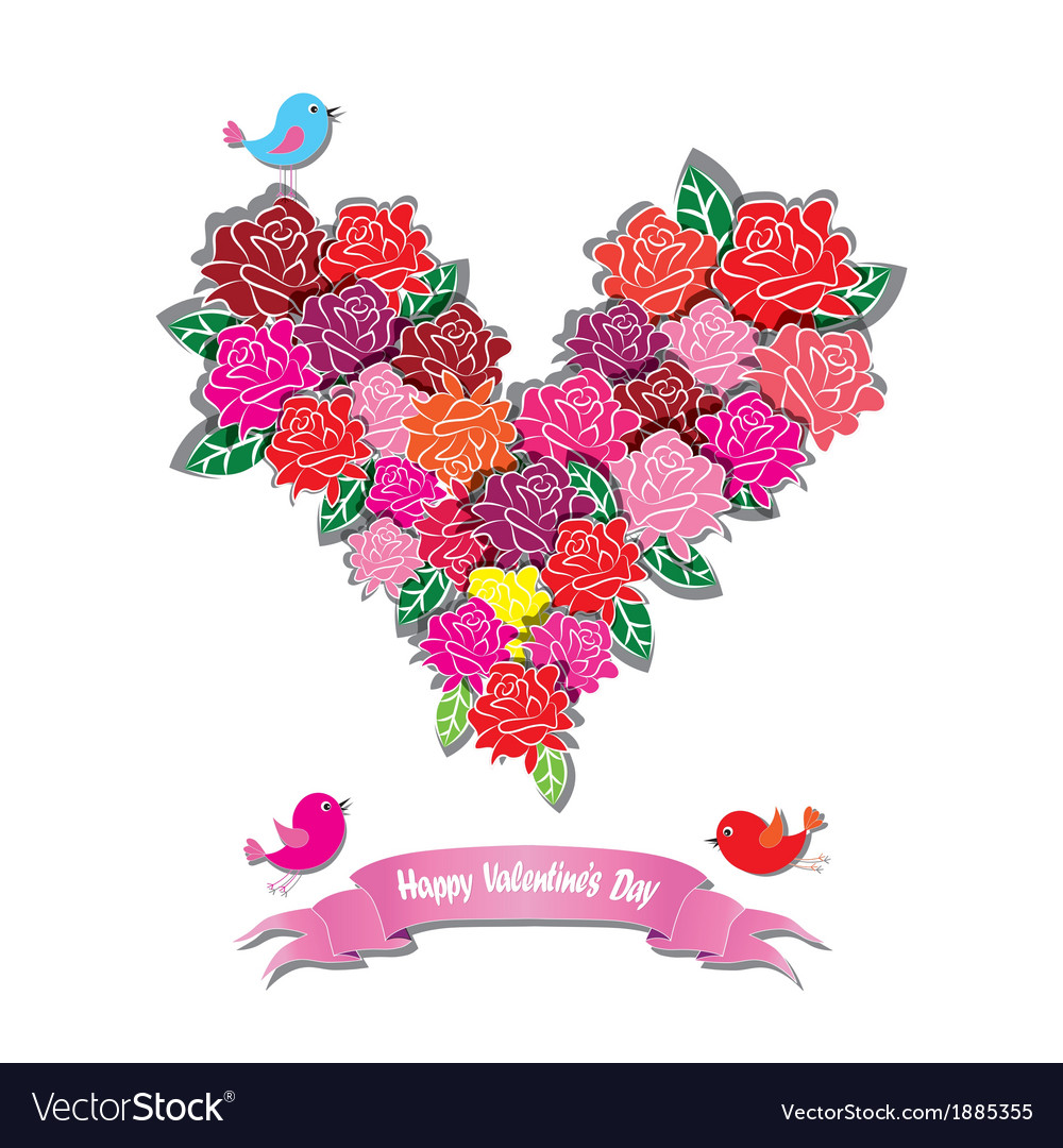Fower love heart valentine day vector | Price: 1 Credit (USD $1)