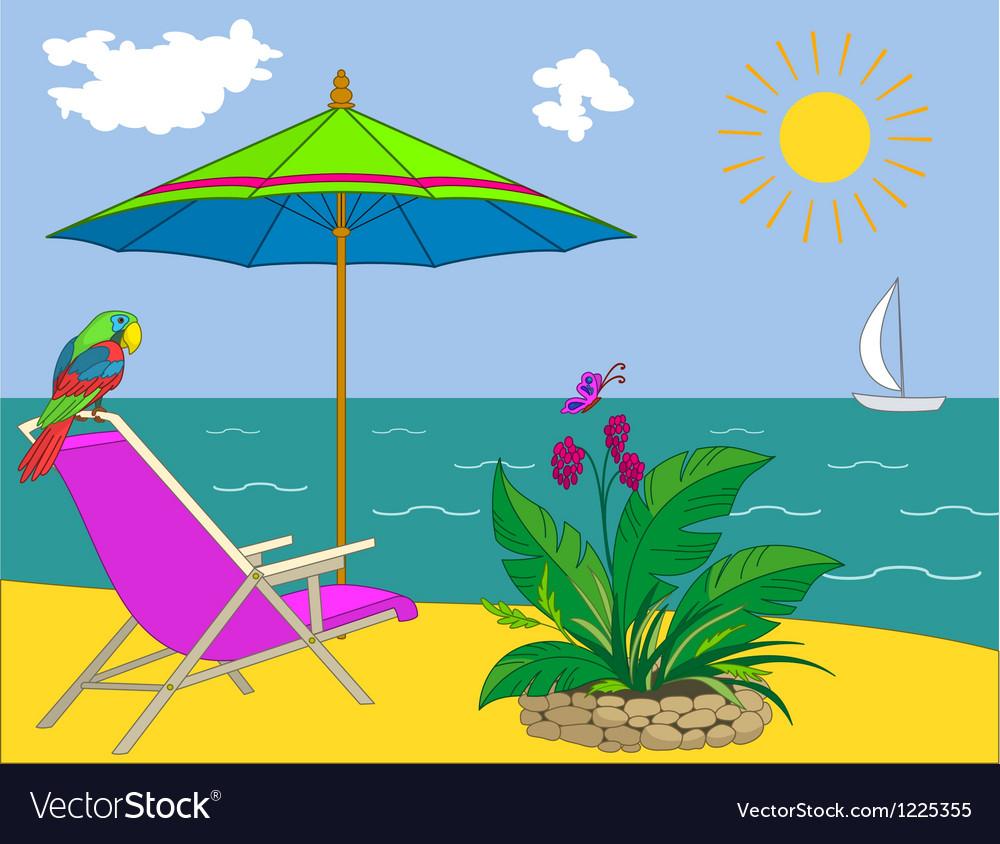Landscape ocean shore vector | Price: 1 Credit (USD $1)