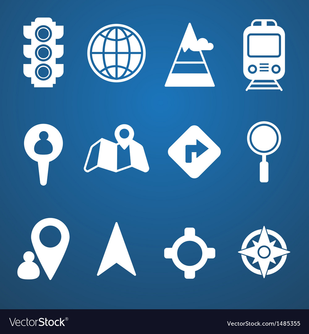 Map and location icons set white vector | Price: 3 Credit (USD $3)