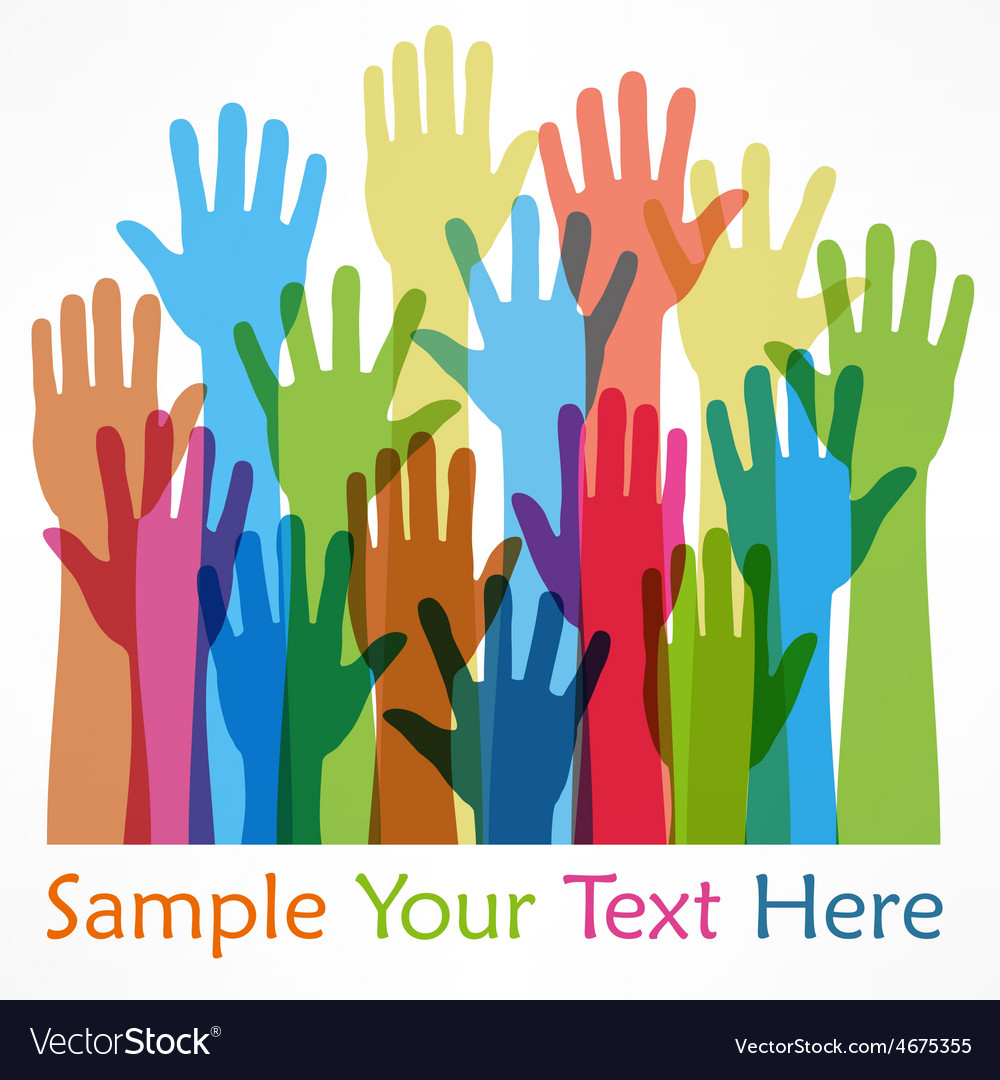 Raised hands color vector | Price: 1 Credit (USD $1)