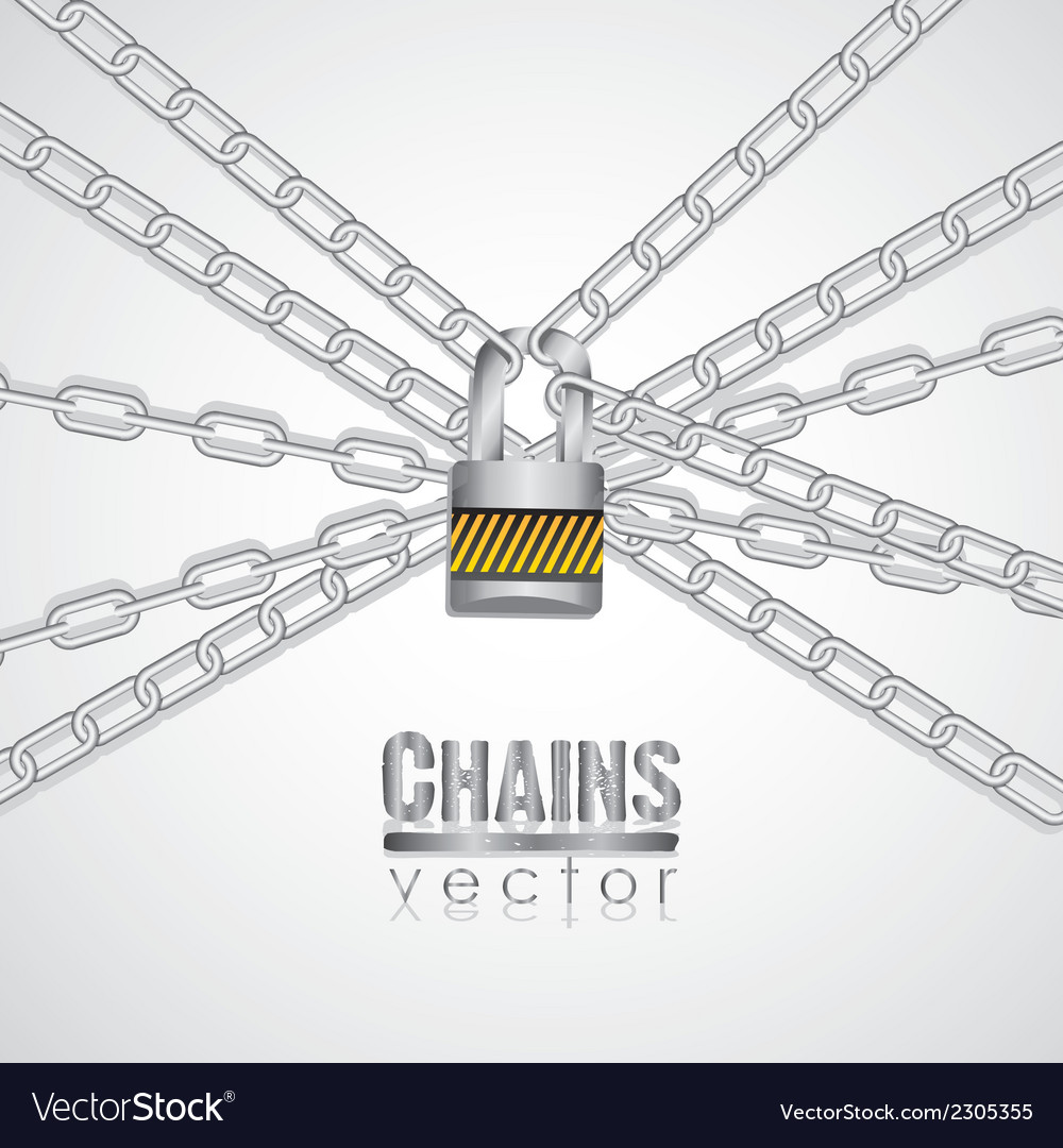 Silver chains attached by a padlock vector | Price: 1 Credit (USD $1)