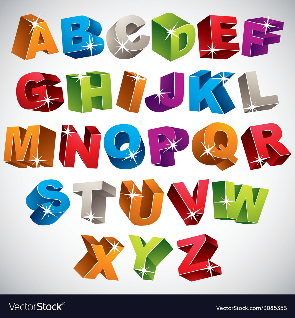 3d font bold colorful alphabet vector | Price: 1 Credit (USD $1)