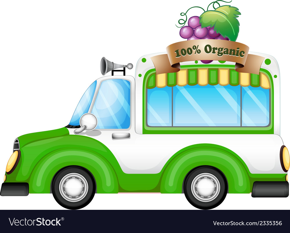 A green vehicle selling organic fruits vector | Price: 1 Credit (USD $1)