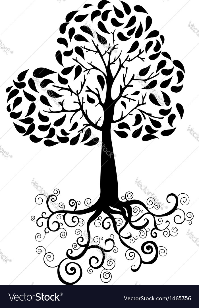 Autumn tree silhouette vector | Price: 1 Credit (USD $1)