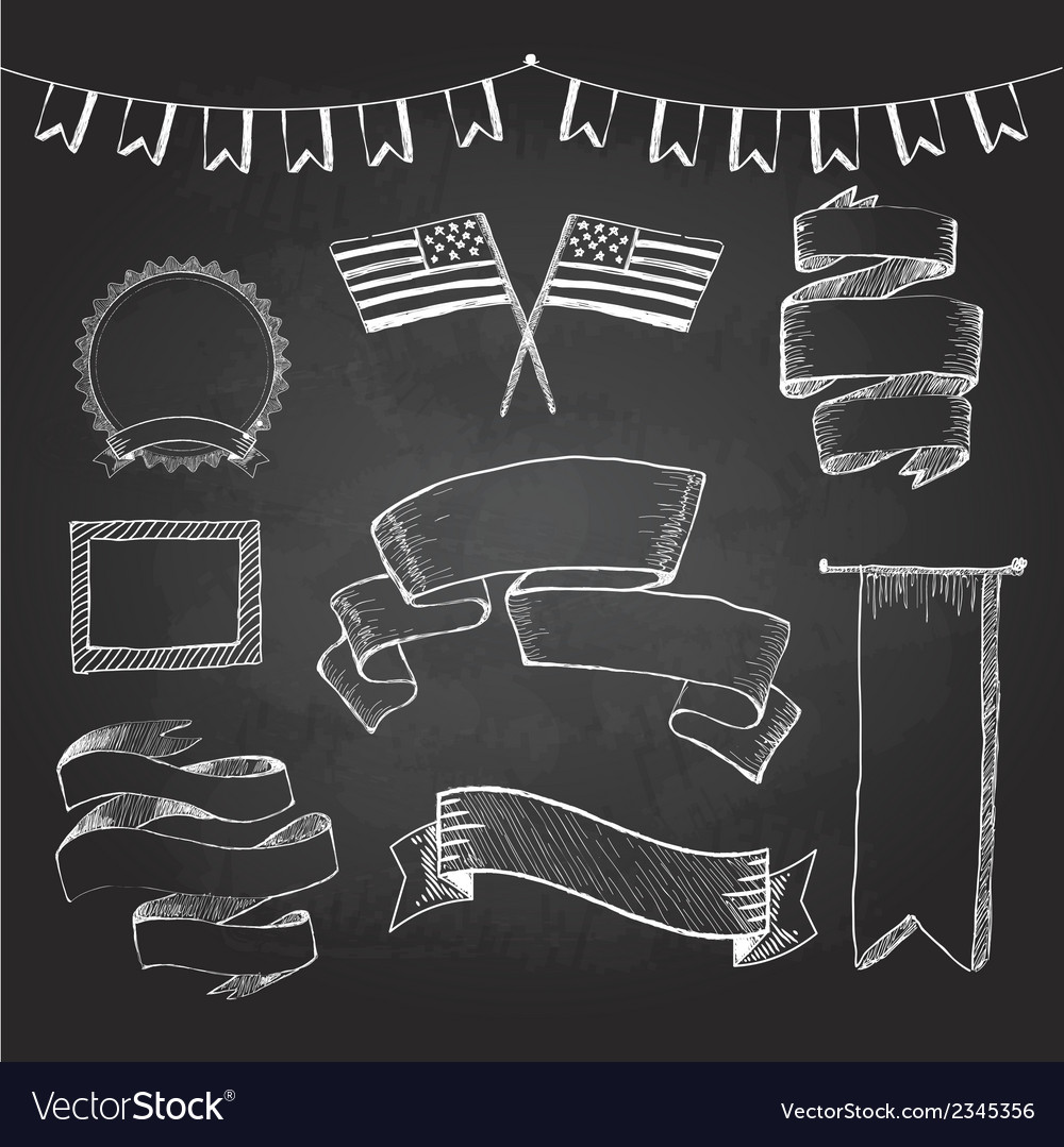 Chalkboard labels ribbons and stickers vector | Price: 1 Credit (USD $1)