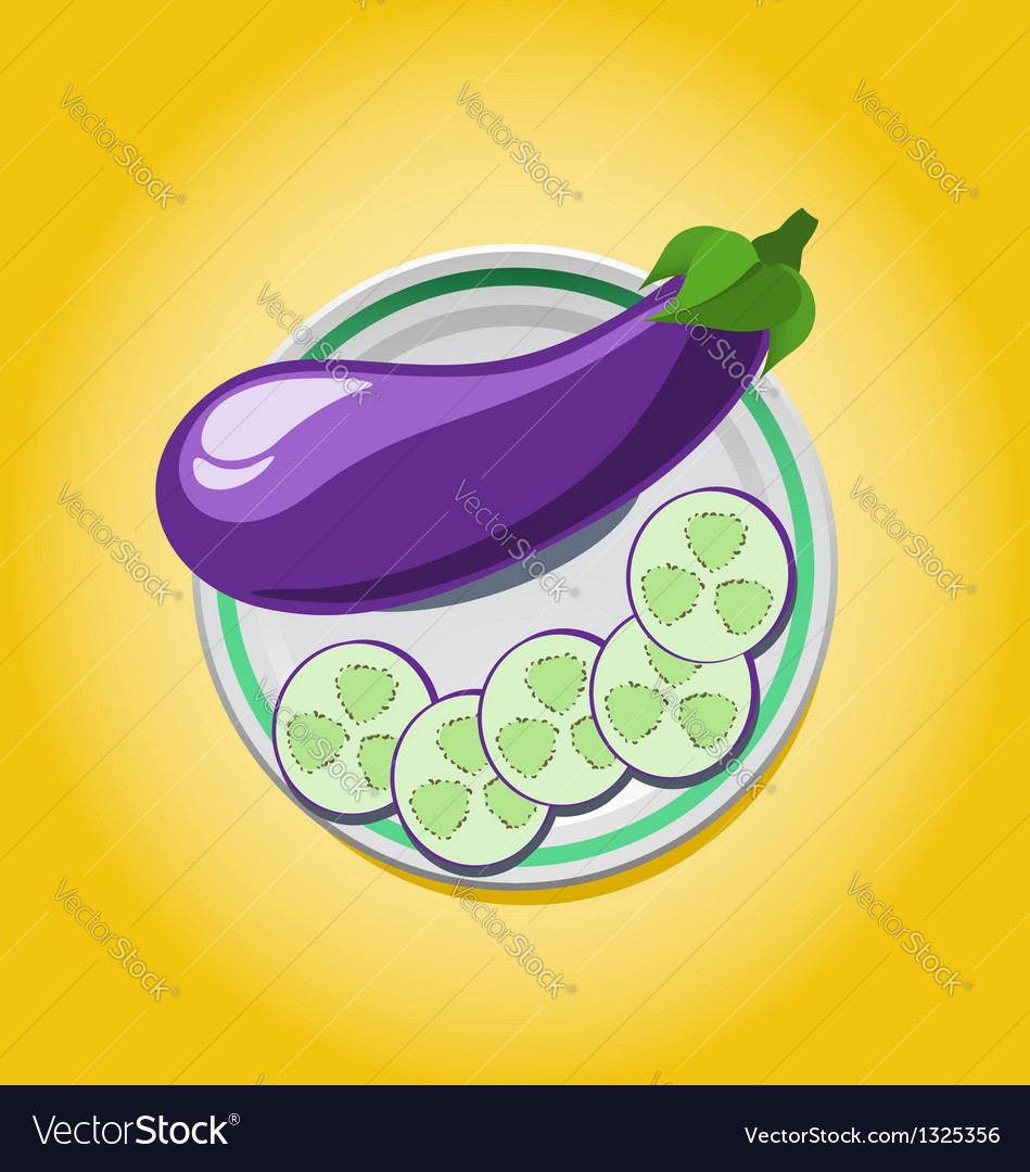 Eggplant on a plate with slices vector | Price: 1 Credit (USD $1)