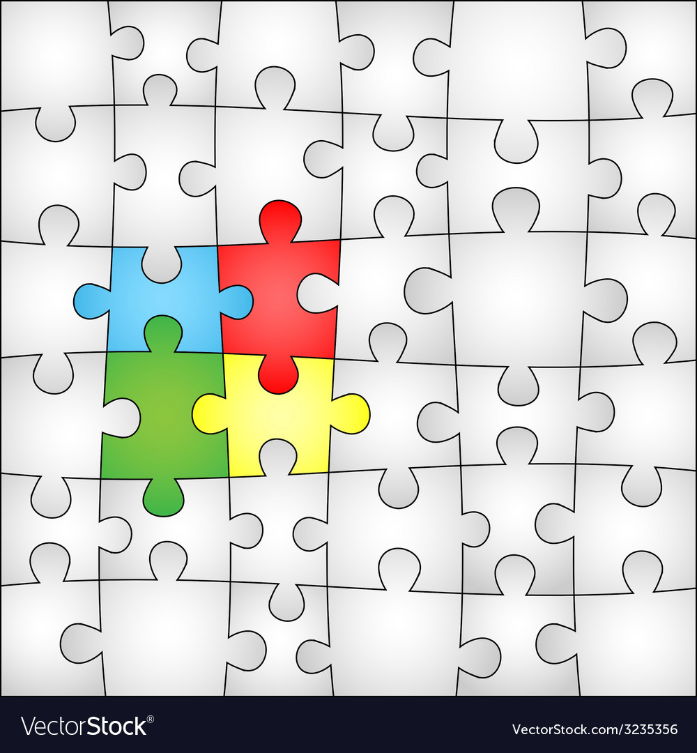 Four colors puzzle background vector | Price: 1 Credit (USD $1)