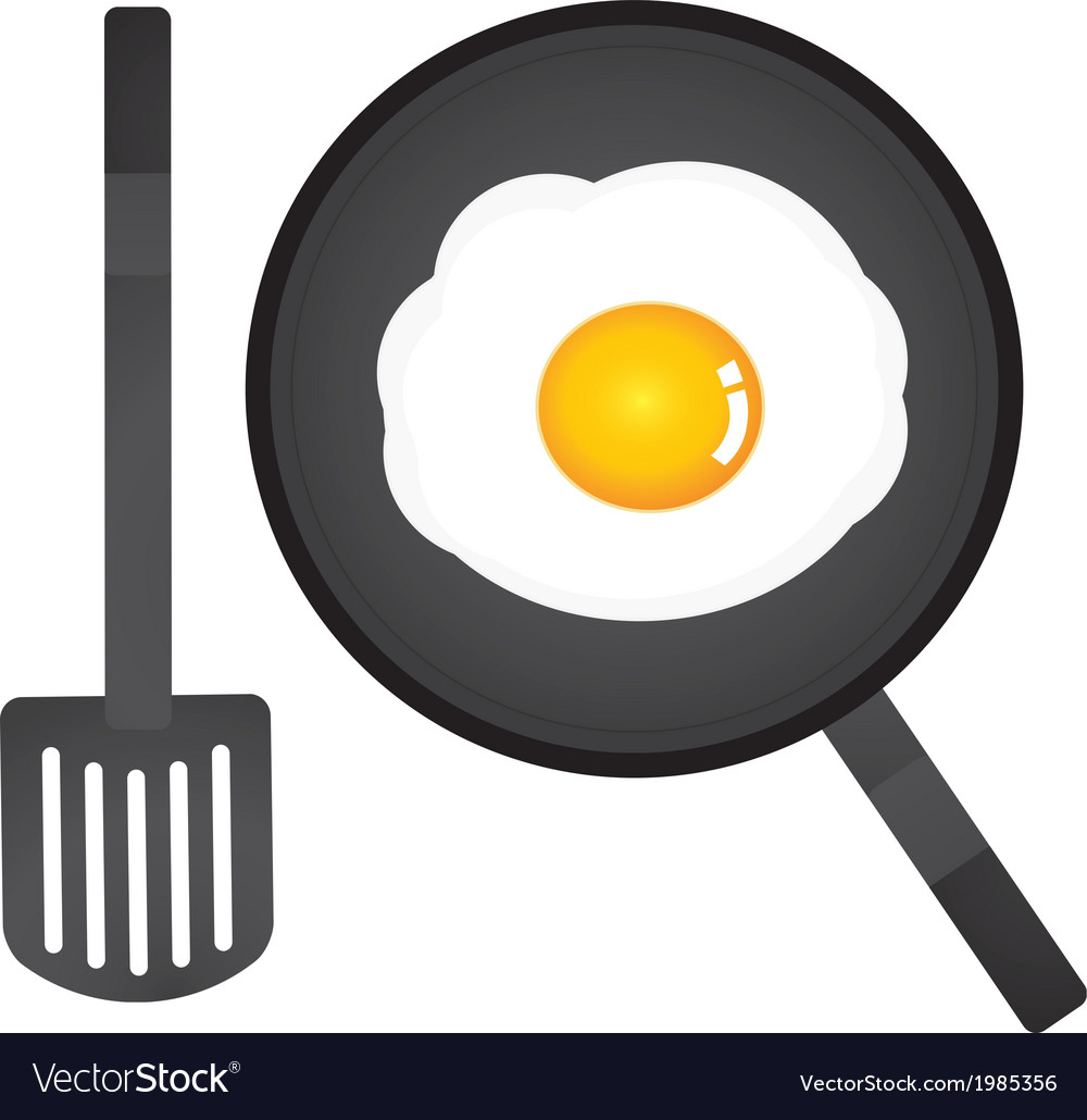 Fried egg in a pan and spatula vector | Price: 1 Credit (USD $1)
