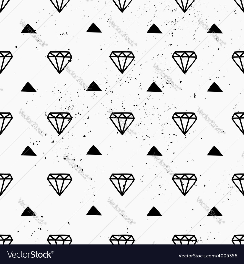 Hand drawn diamonds abstract seamless pattern vector | Price: 1 Credit (USD $1)