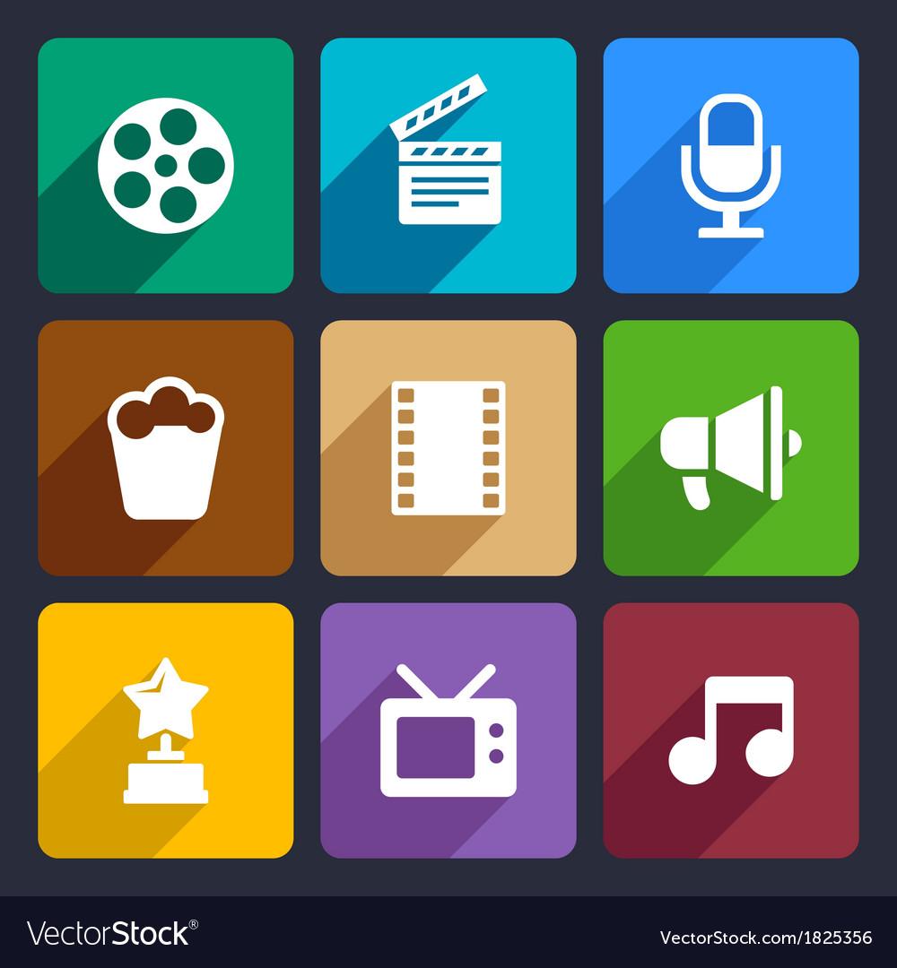 Movie flat icons set 37 vector | Price: 1 Credit (USD $1)