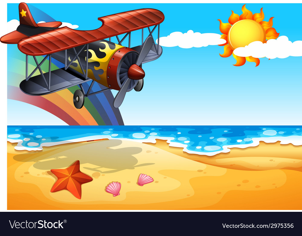 Plane and beach vector | Price: 1 Credit (USD $1)