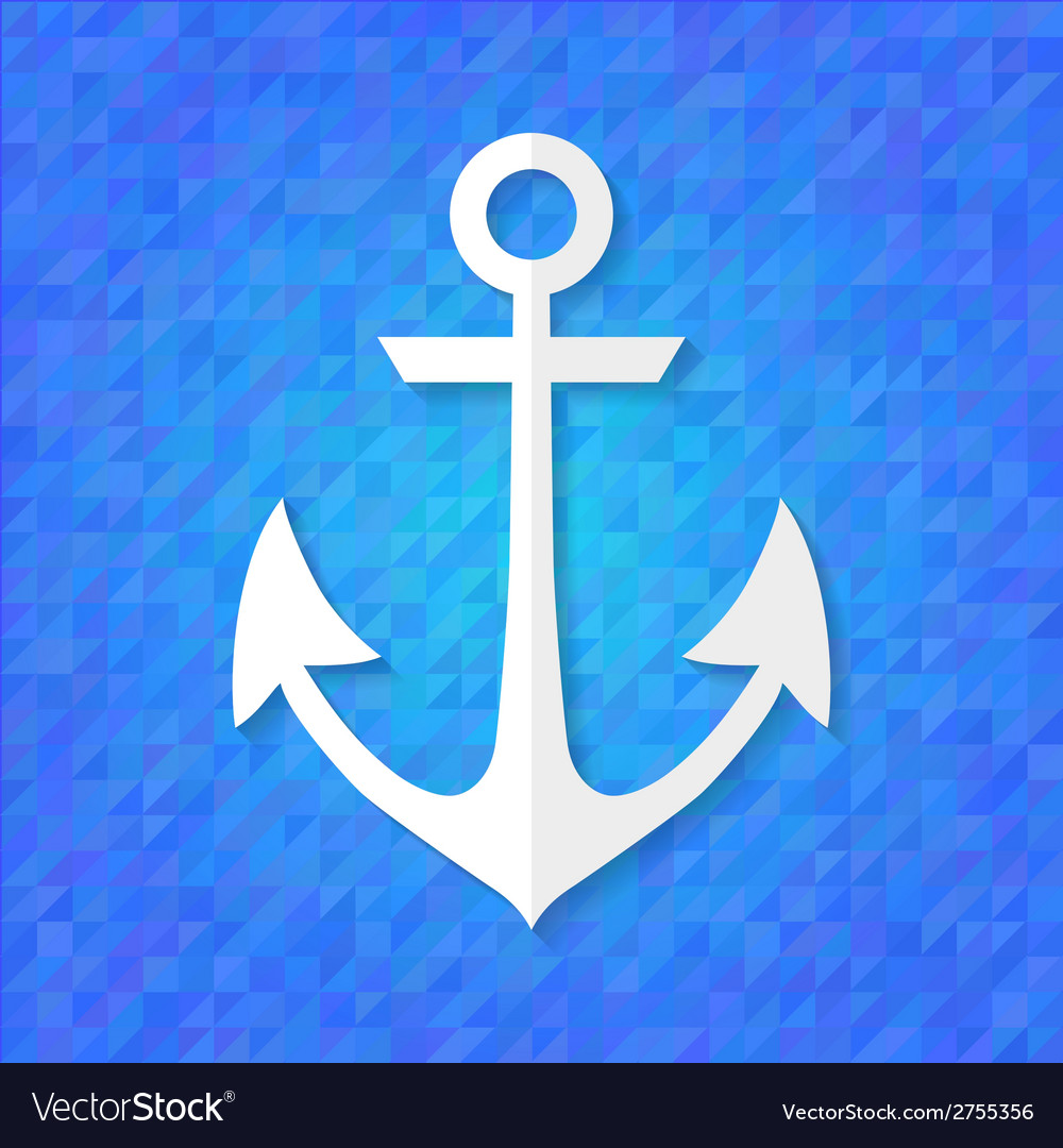 White anchor over blue vector | Price: 1 Credit (USD $1)