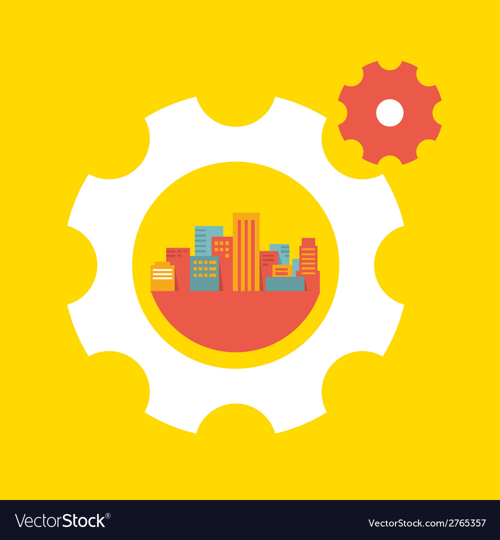 A large city in the gears vector | Price: 1 Credit (USD $1)