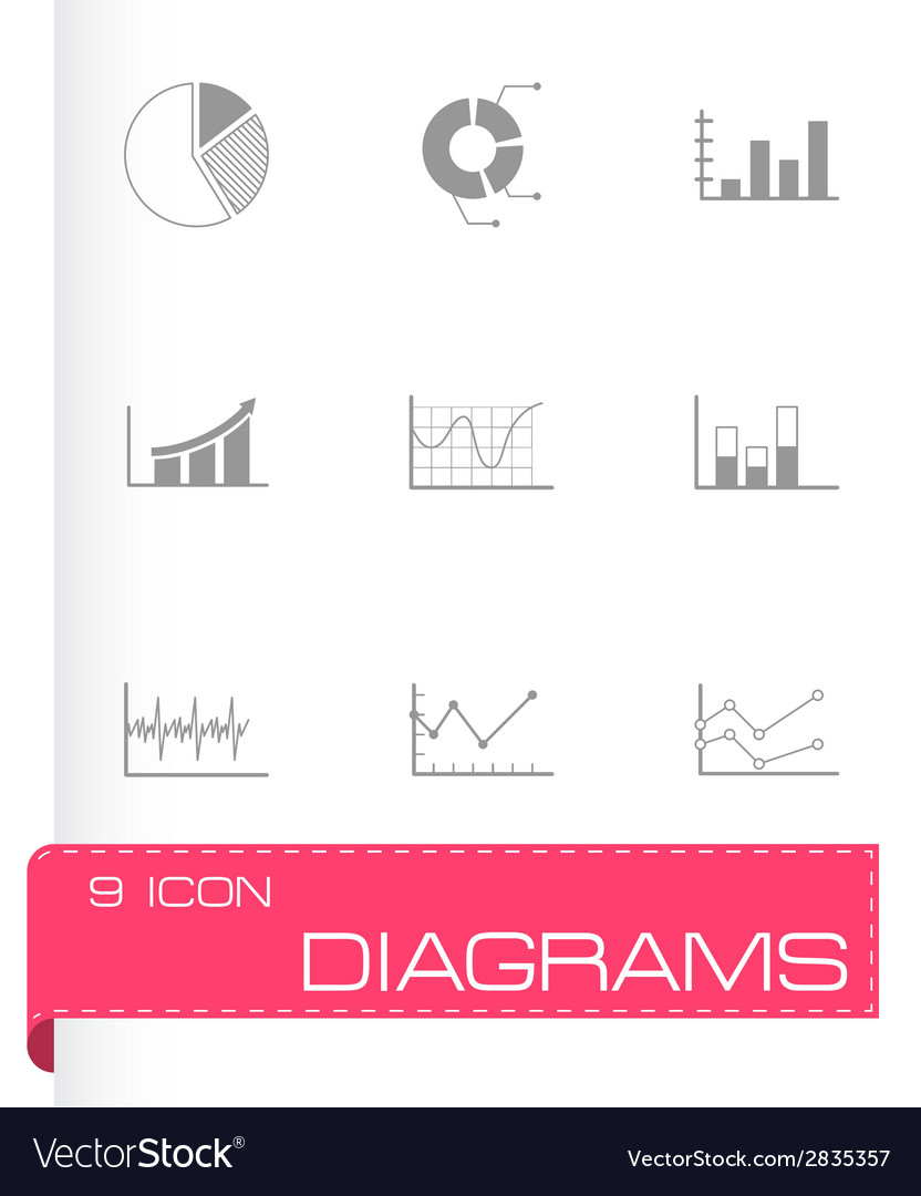 Black diagrams icons set vector | Price: 1 Credit (USD $1)