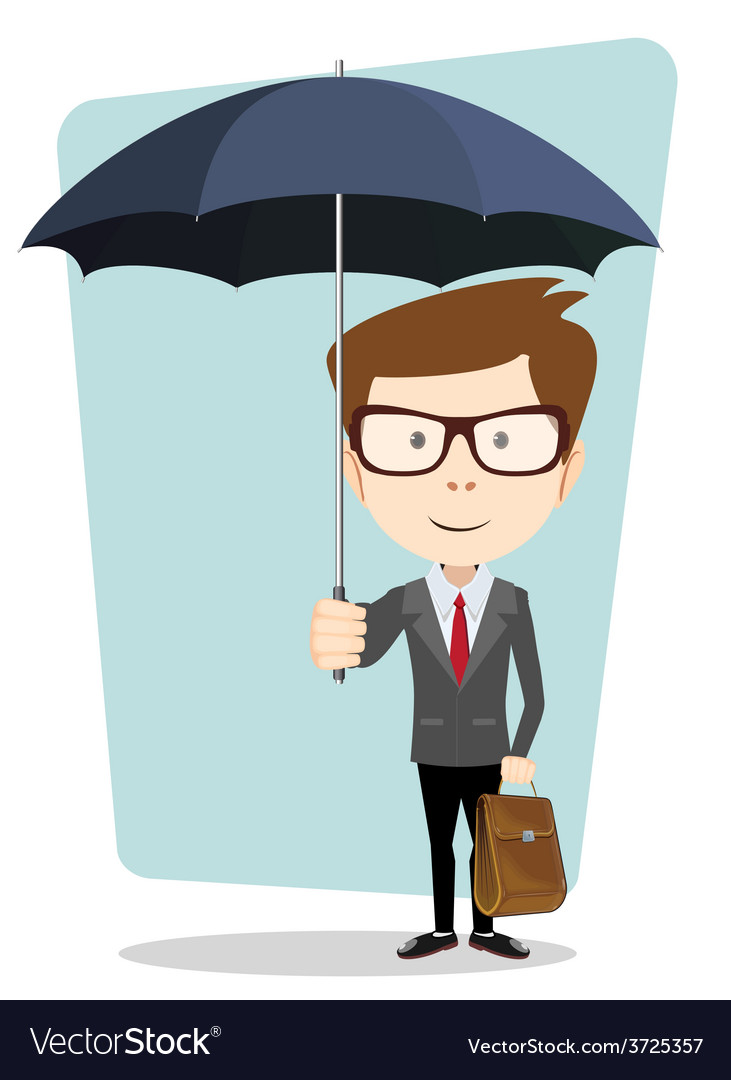 Businessman hiding from the rain under an umbrella vector | Price: 1 Credit (USD $1)