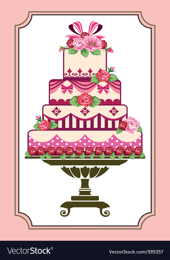 Cake with roses vector | Price: 3 Credit (USD $3)