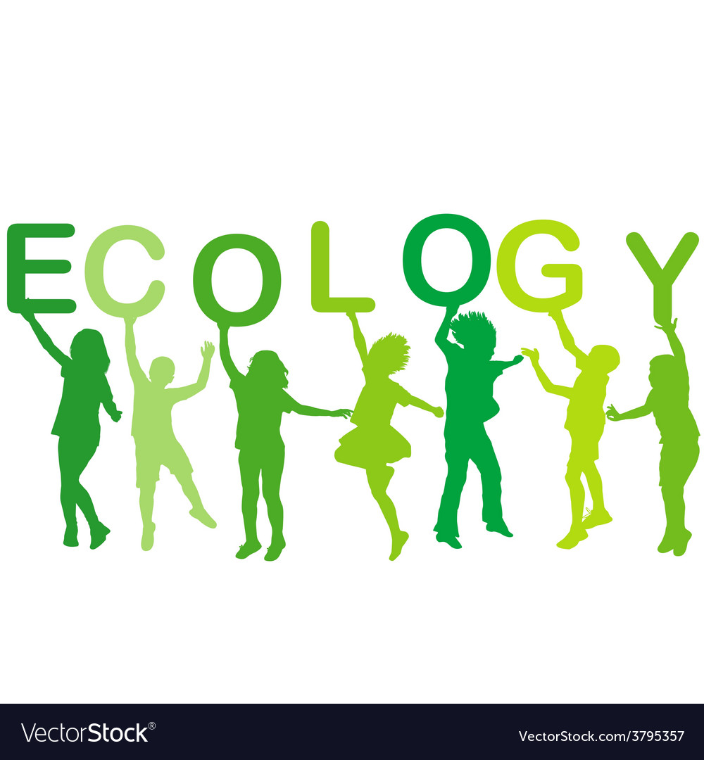 Ecology concept with children silhouettes vector | Price: 1 Credit (USD $1)