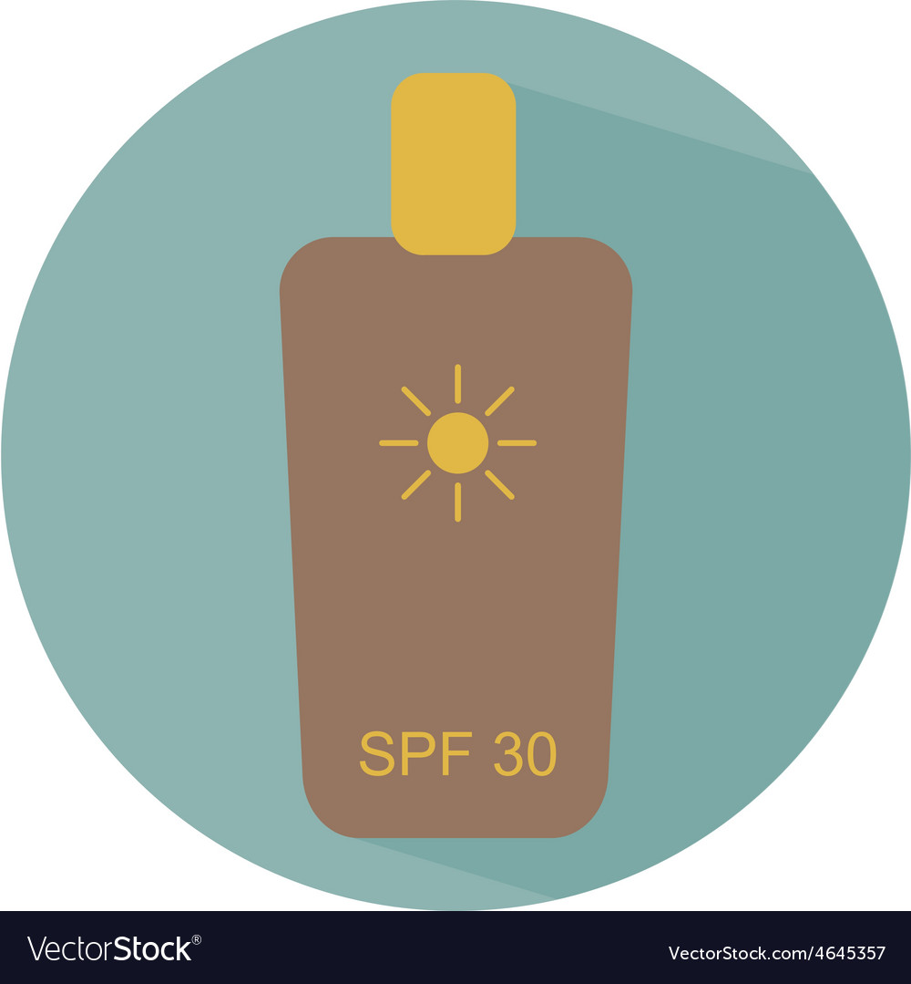 Flat icon bottle with sunscreen creme for safe tan vector | Price: 1 Credit (USD $1)
