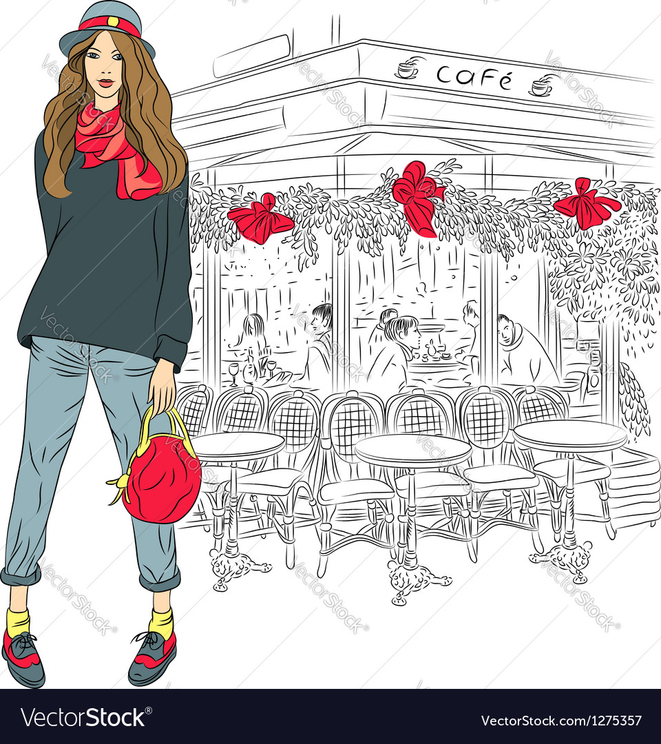 Lovely fashion girl on the background of paris vector | Price: 3 Credit (USD $3)