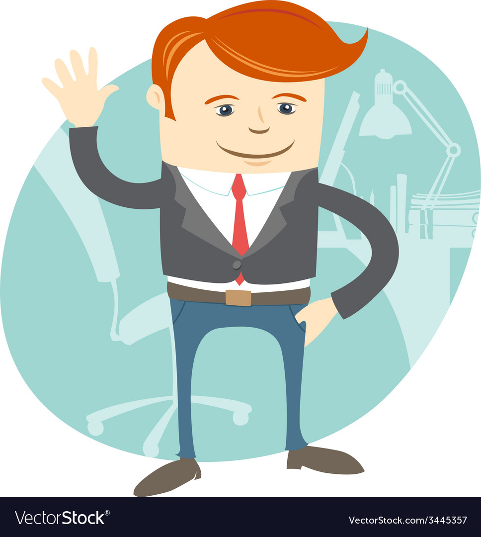 Office man waving in front of his working place vector | Price: 1 Credit (USD $1)