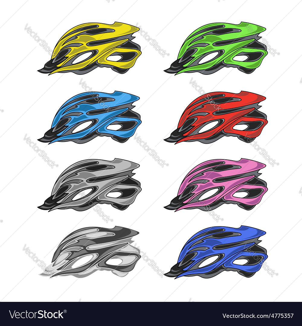 Set of colorful bike helmets vector | Price: 1 Credit (USD $1)